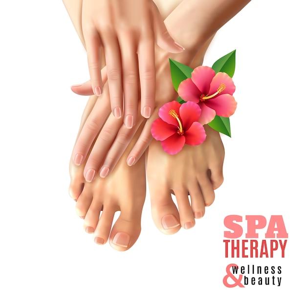 Pedicure manicure spa salon poster Free Vector