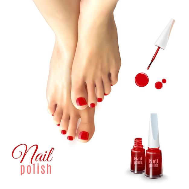 Pedicure nail polish Free Vector