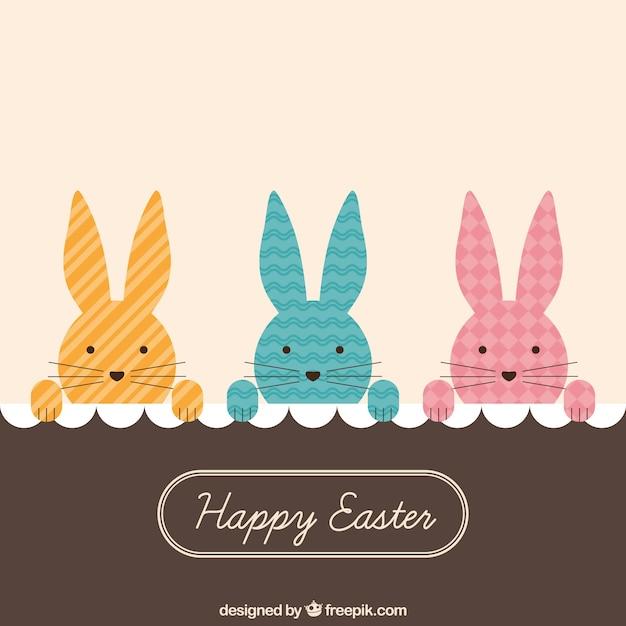 Peeking bunnies easter card Vector – Easter Card