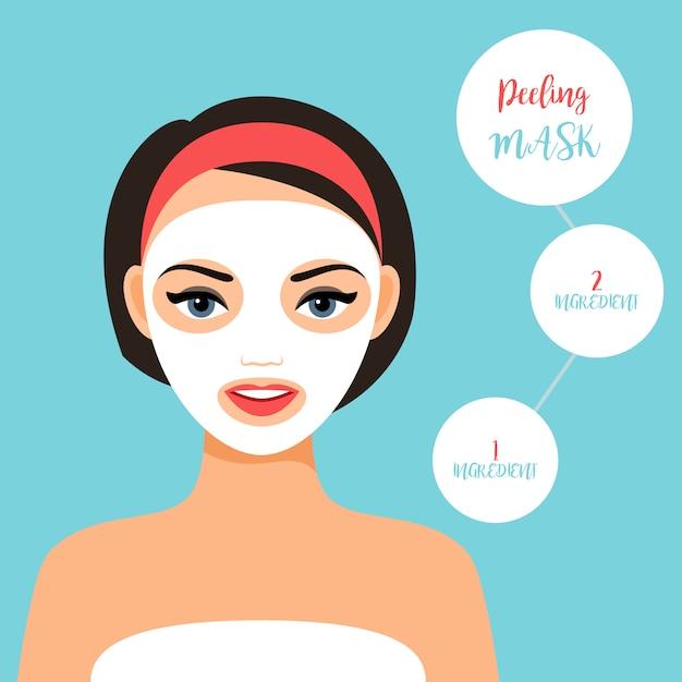 Peeling mask for treating skin Premium Vector