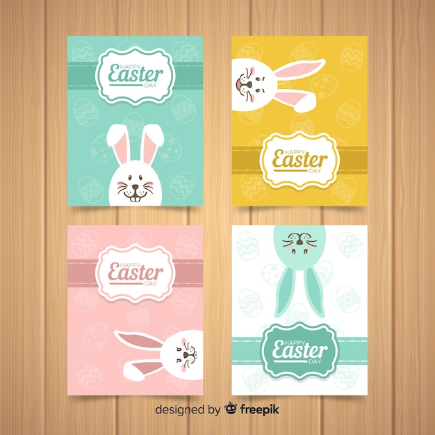Peeping out bunny easter card collection Free Vector