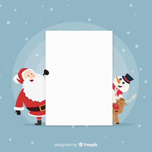 Peeping out characters blank sign background Free Vector