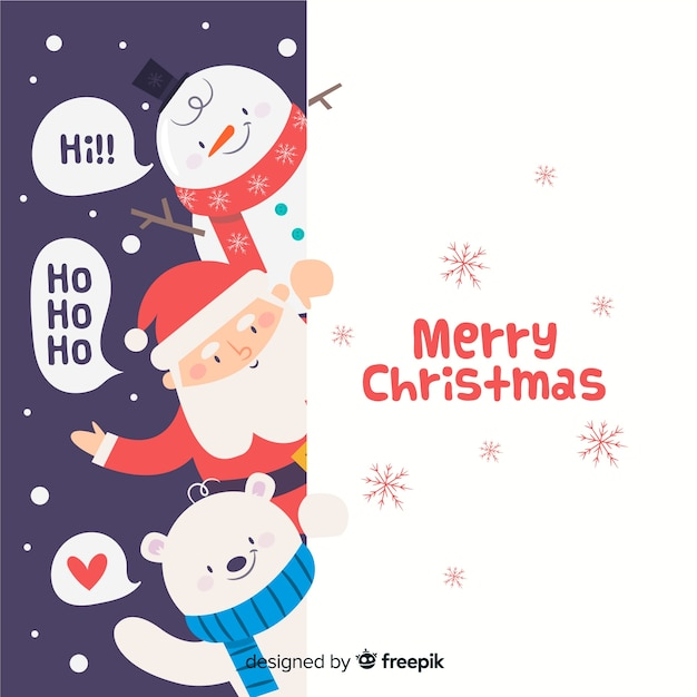 Peeping out christmas characters background Free Vector