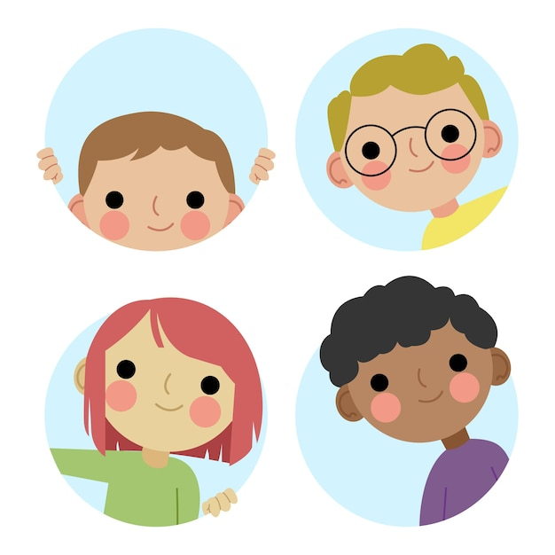 Peeping people collection Free Vector