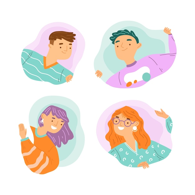 Peeping people illustration collection Free Vector
