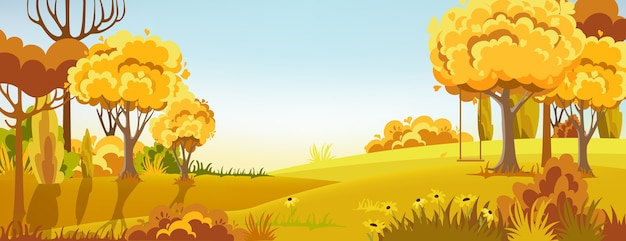 Peisage of a autumn forest Free Vector