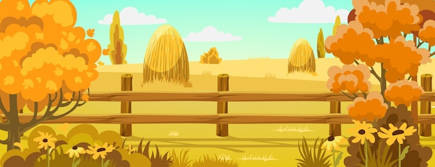 Peisage of a field with haystacks nearby a forest Free Vector