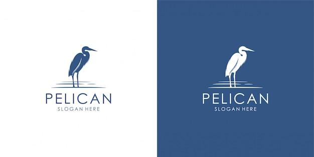 Пеликан дизайн логотипа, монолайн, контур, линия. Premium векторы