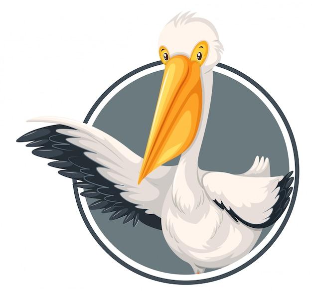 A pelican on sticker template Premium Vector