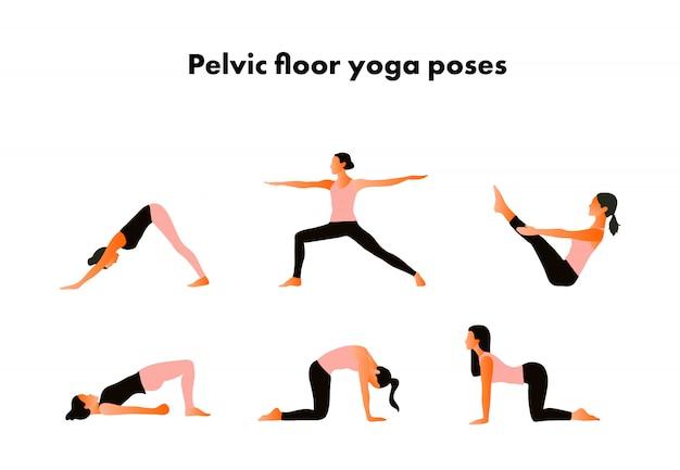 Pelvic floor yoga poses. woman health