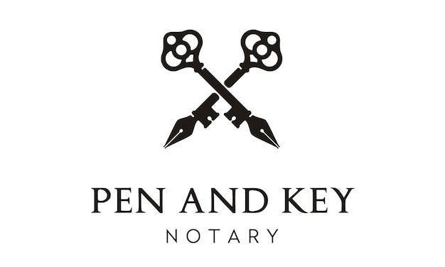 Pen and key cross logo design Premium Vector
