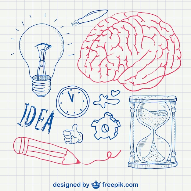 Pen sketched brain, bulb and sand clock Free Vector