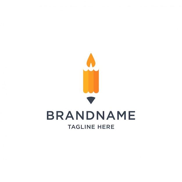 鉛筆とキャンドルのロゴデザインテンプレートイラスト Premiumベクター