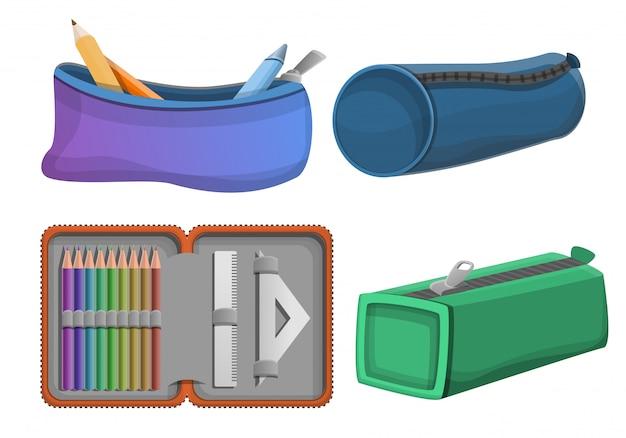 Pencil case icons set, cartoon style Premium Vector