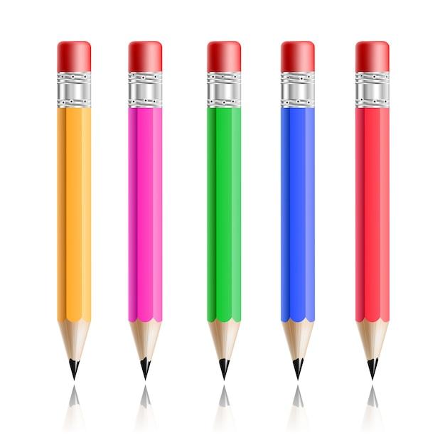 Insieme realistico variopinto della matita isolato su bianco Vettore gratuito