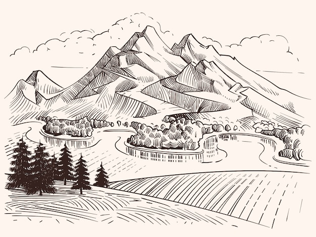 Pencil drawing mountain landscape. cartoon sketch mountains and fir trees vector illustration. landscape sketch mountain, tree and peak hill Premium Vector