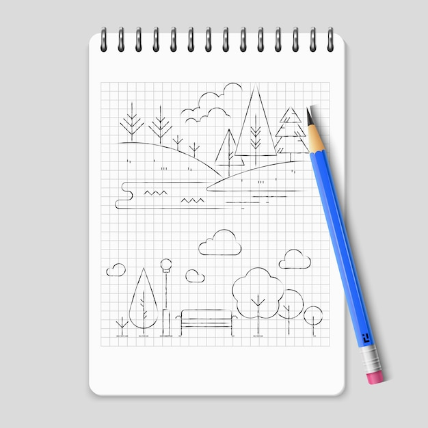 Pencil drawing nature landscape outline vector Premium Vector
