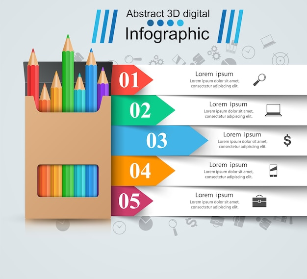 Pencil, education icon. business infographic Premium Vector