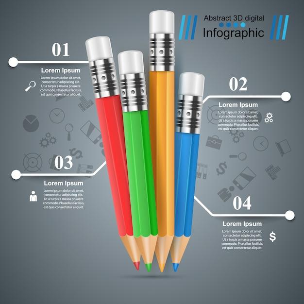 Pencil, education infographic template Premium Vector