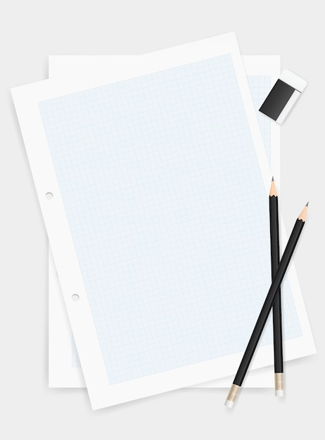 Pencil and eraser on drawing paper background. Premium Vector