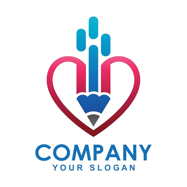 Pencil logo and heart shape Premium Vector