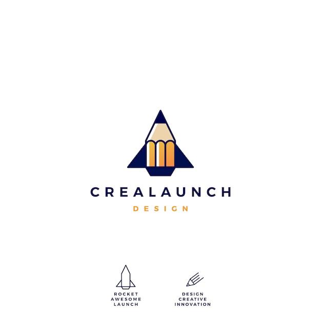Pencil rocket launch logo vector icon illustration Premium Vector