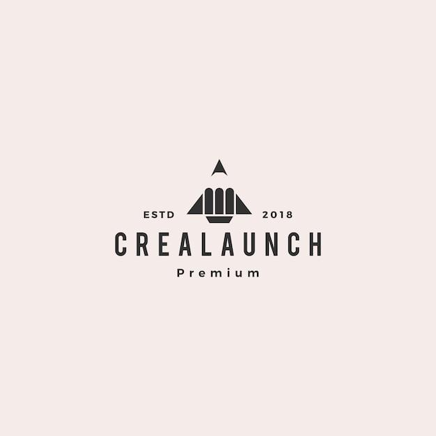 Pencil Rocket Launch Logo Vector Illustration Vector