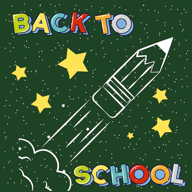 Pencil rocket taking off drawn on chalkboard, back to school illustration Free Vector