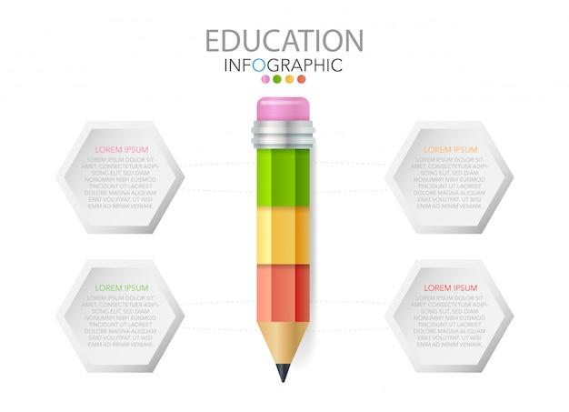 アイコンとテキスト、教育のインフォグラフィック、ワークフロー、プロセスと鉛筆 Premiumベクター