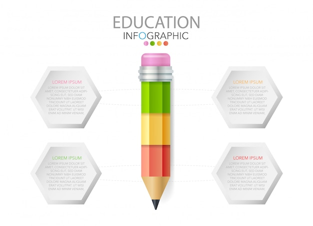 Pencil with icons and text, education infographics, workflow, process Premium Vector