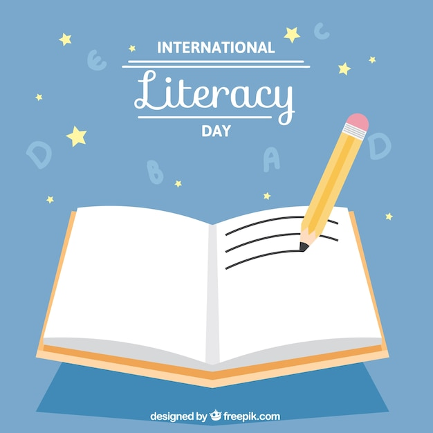 Pencil with an open book for literacy day Free Vector