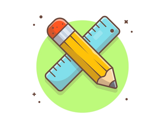 premium vector pencil with ruler icon illustration https www freepik com profile preagreement getstarted 6193325