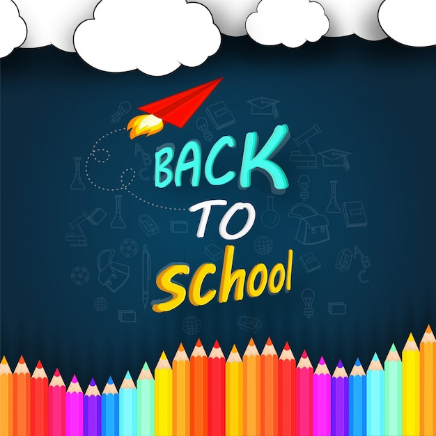 Pencils and chalkboard background, back to school concept Free Vector
