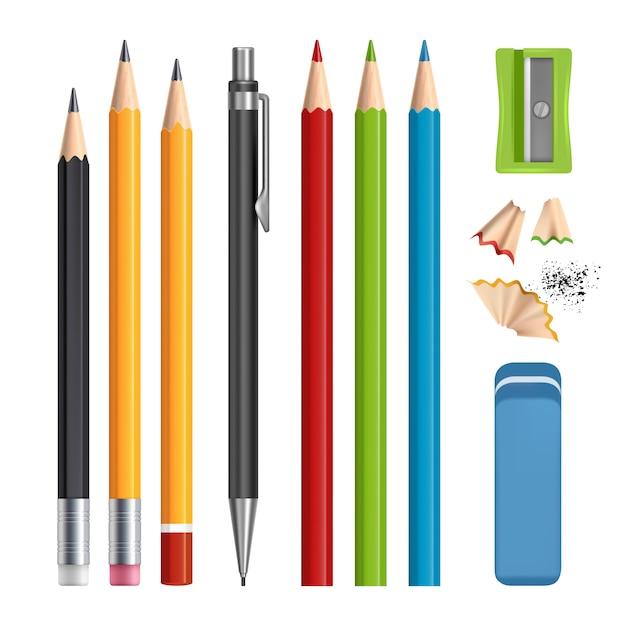 鉛筆セット、文具ツールをシャープ、ゴム製の現実的なsetisolatedと色鉛筆 Premiumベクター