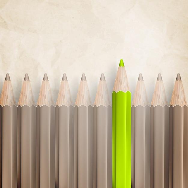 羊皮紙のテクスチャ紙に対して上向きの先端の鉛筆。 Premiumベクター