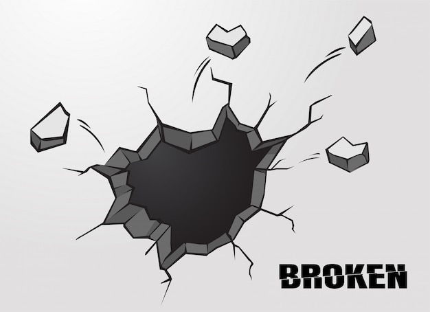 Penetrating holes or cracked cement wall surfaces. Premium Vector