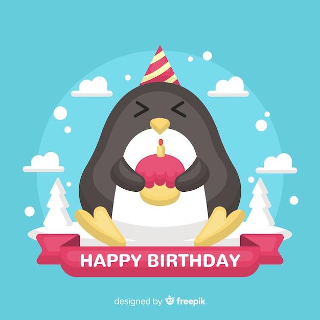 Penguin birthday Free Vector