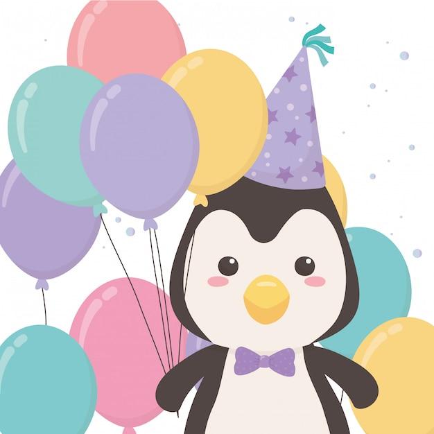 Penguin cartoon with happy birthday Premium Vector