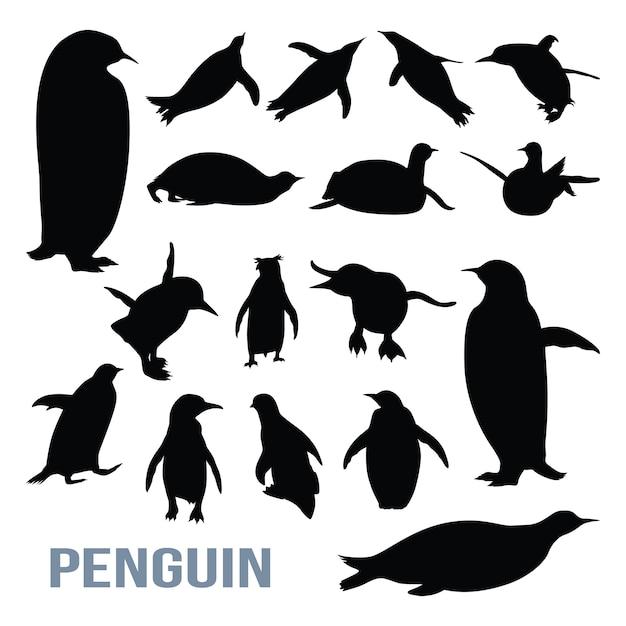 penguin cute isolated silhouette set vector | premium download