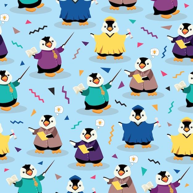 ペンギン教育かわいい漫画のシームレスなパターン Premiumベクター