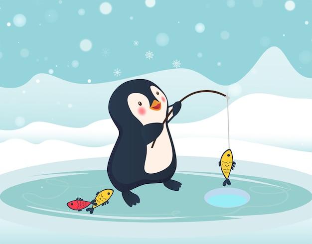 Пингвин-рыбак поймал рыбу. подледная рыбалка Premium векторы
