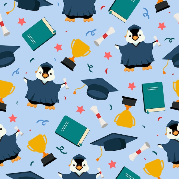 トロフィーと本とペンギン大学院かわいい漫画のシームレスなパターン Premiumベクター