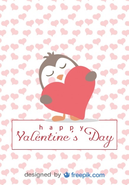 Penguin in Love Cartoon Valentines Day Card Vector – Cartoon Valentine Cards