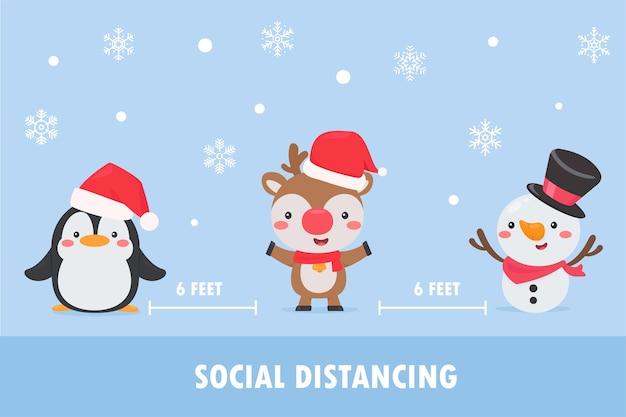 Пингвины, олени и снеговики носят маски и покидают социальное пространство, чтобы предотвратить корону во время рождества. Premium векторы