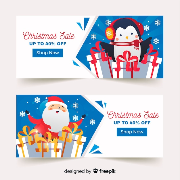 Penguin and santa christmas sale banner Free Vector