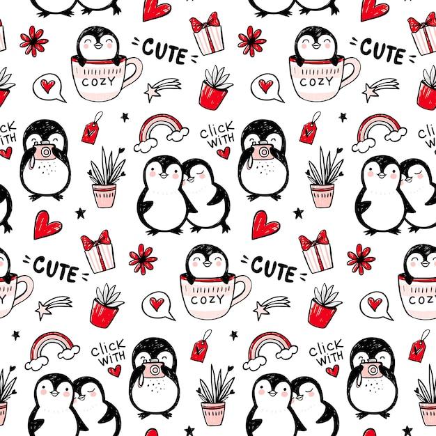 펭귄 완벽 한 패턴입니다. 재미 있은 동물 배경. 만화 손으로 그린 귀여운 캐릭터와 텍스처. 낙서 스타일. 프리미엄 벡터
