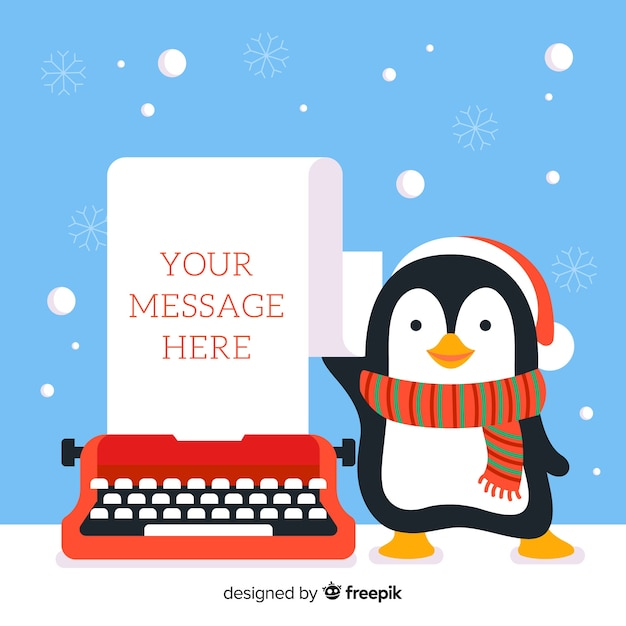 Penguin and typing machine Free Vector