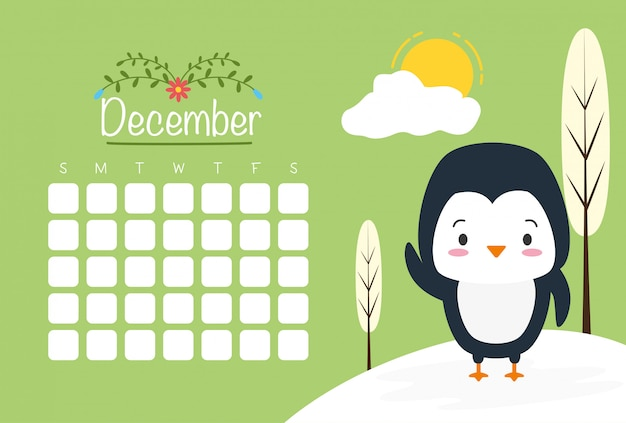 Penguin with calendar, cute animals, flat and cartoon style, illustration Free Vector