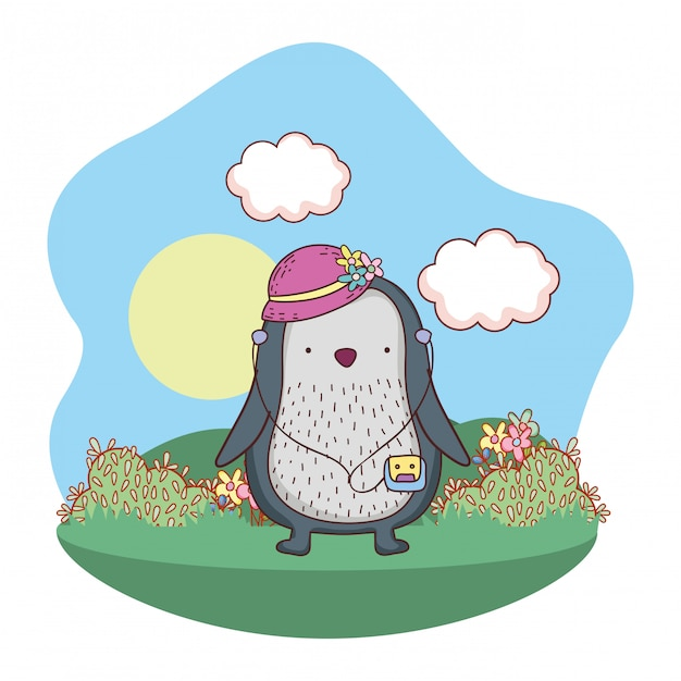 Penguin with female hat and walkman in the camp Premium Vector