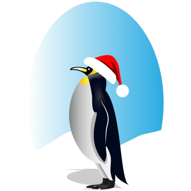 Penguin with red santa hat vector clip art Free Vector
